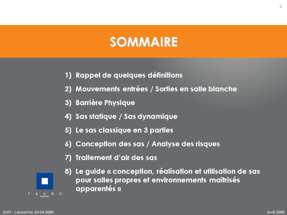 SOMMAIRE SSRT - Lausanne 03-04-2008 2 avril 2008 1)Rappel de quelques définitions 2)Mouvements entrées / Sorties en salle blanche 3)Barrière Physique