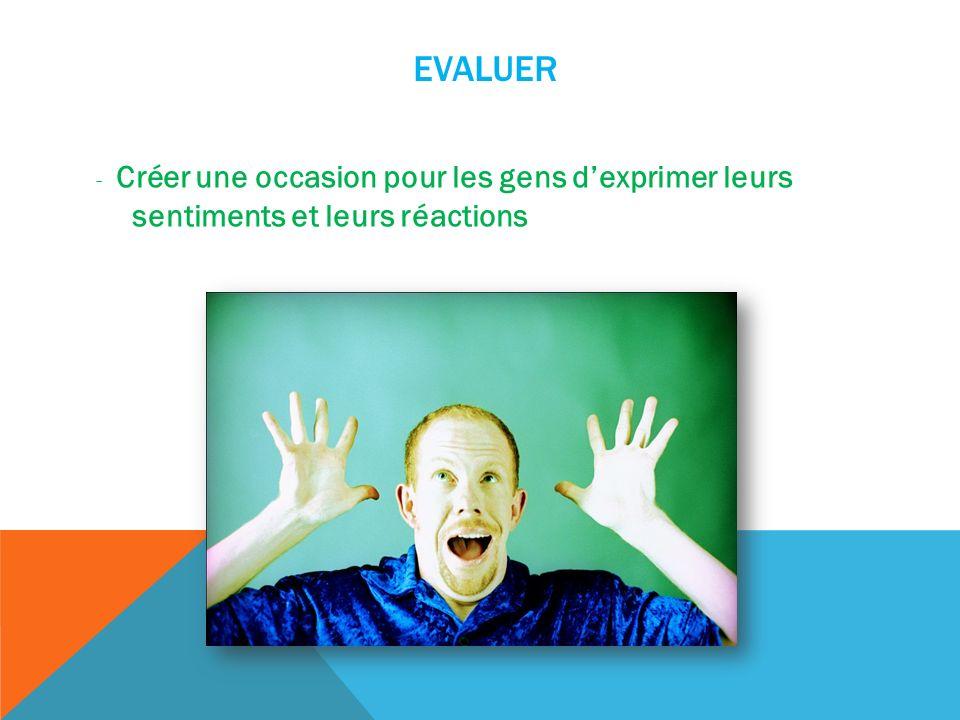 EVALUER - Créer une occasion pour les gens dexprimer leurs sentiments et leurs réactions