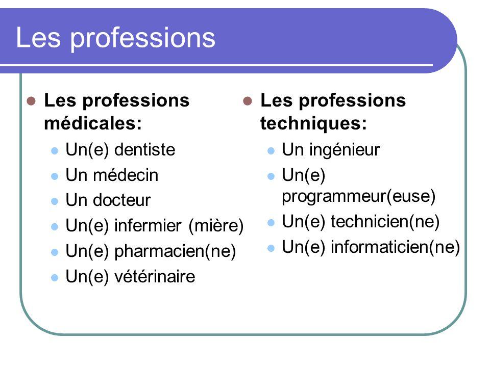 Les professions Les professions médicales: Un(e) dentiste Un médecin Un docteur Un(e) infermier (mière) Un(e) pharmacien(ne) Un(e) vétérinaire Les pro