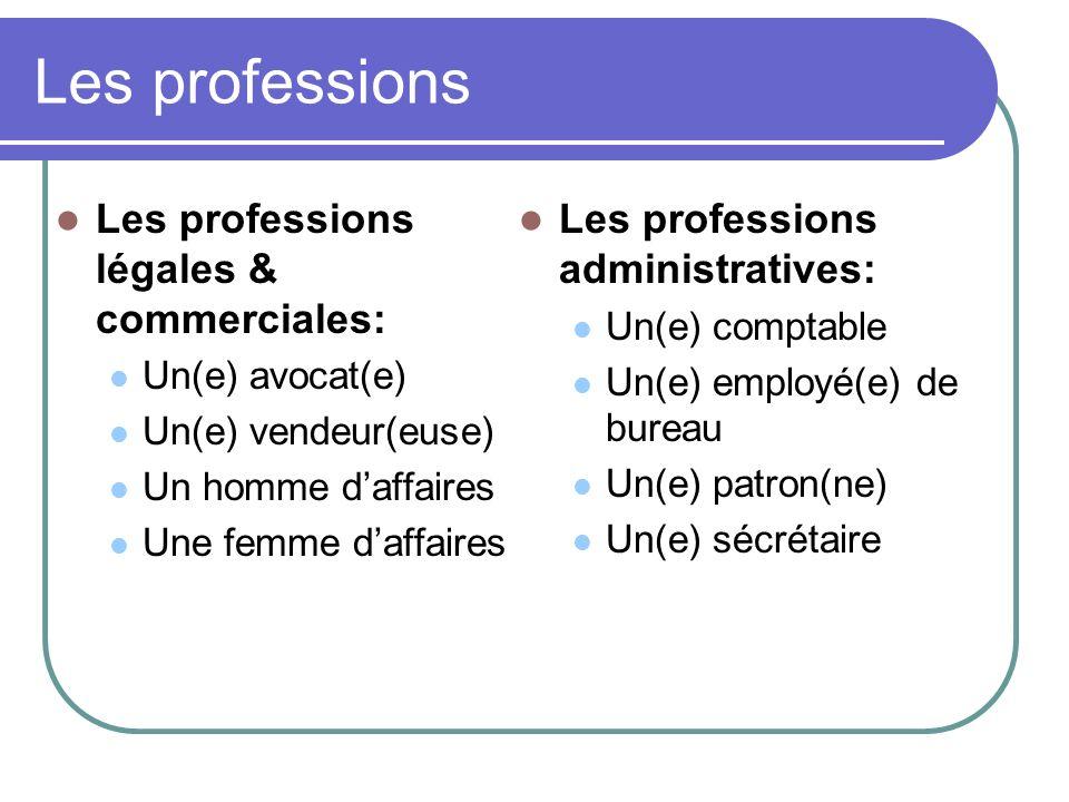Les professions Les professions légales & commerciales: Un(e) avocat(e) Un(e) vendeur(euse) Un homme daffaires Une femme daffaires Les professions adm