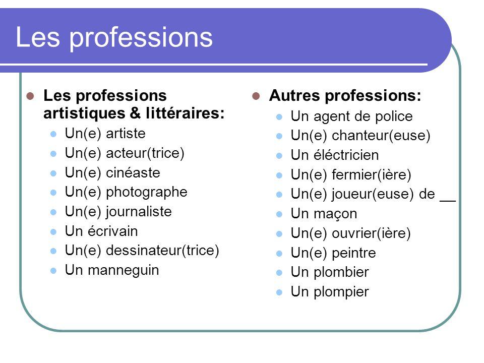 Les professions Les professions artistiques & littéraires: Un(e) artiste Un(e) acteur(trice) Un(e) cinéaste Un(e) photographe Un(e) journaliste Un écr