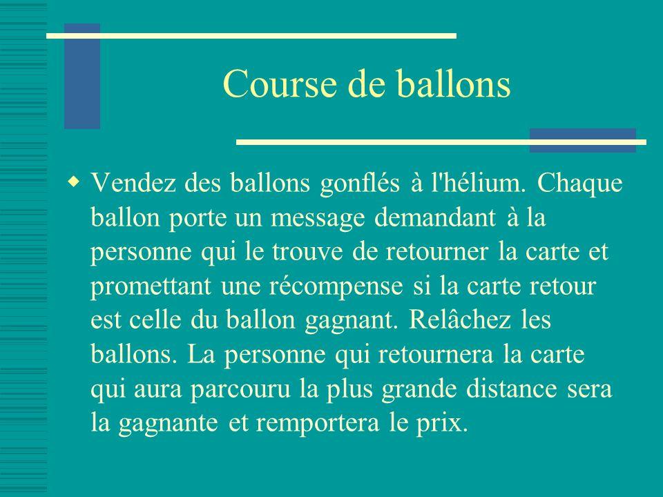 Course de ballons Vendez des ballons gonflés à l hélium.