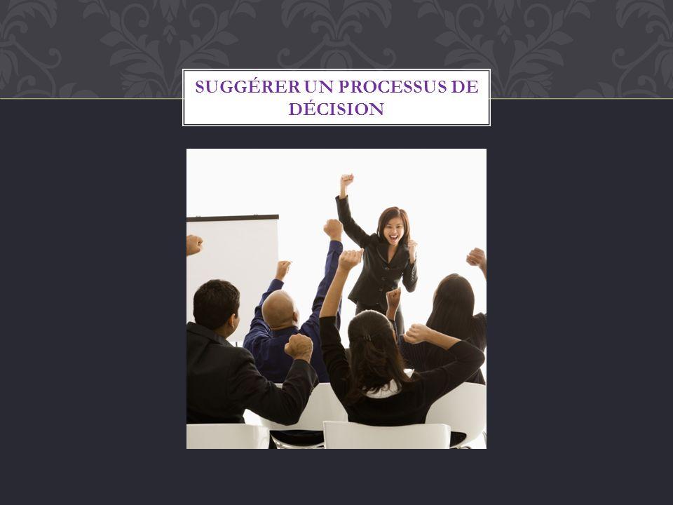 SUGGÉRER UN PROCESSUS DE DÉCISION