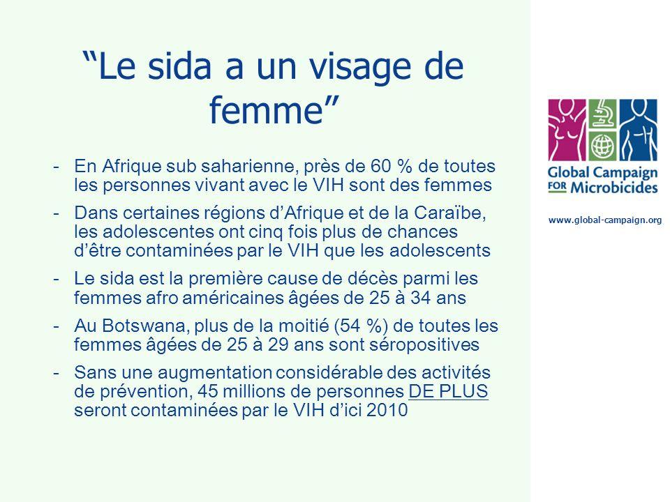 www.global-campaign.org Le sida a un visage de femme -En Afrique sub saharienne, près de 60 % de toutes les personnes vivant avec le VIH sont des femm