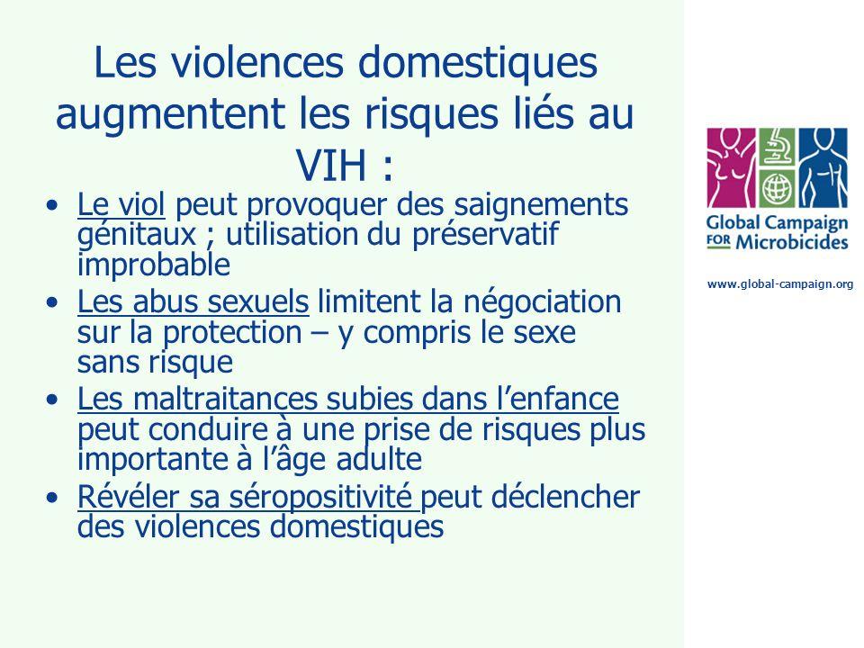 www.global-campaign.org Les violences domestiques augmentent les risques liés au VIH : Le viol peut provoquer des saignements génitaux ; utilisation d