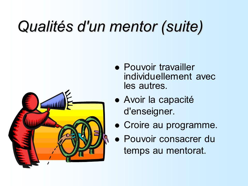 Qualités d un mentor (suite) Pouvoir travailler individuellement avec les autres.