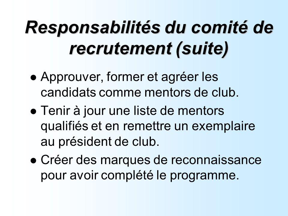 Responsabilités du comité de recrutement (suite) Approuver, former et agréer les candidats comme mentors de club.
