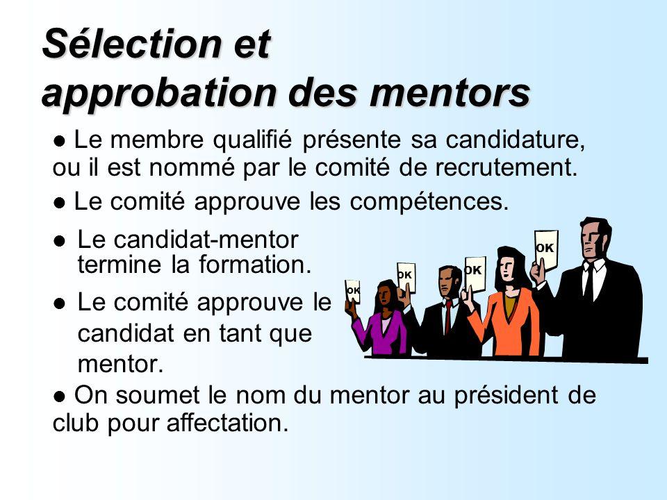 Sélection et approbation des mentors Le candidat-mentor termine la formation.