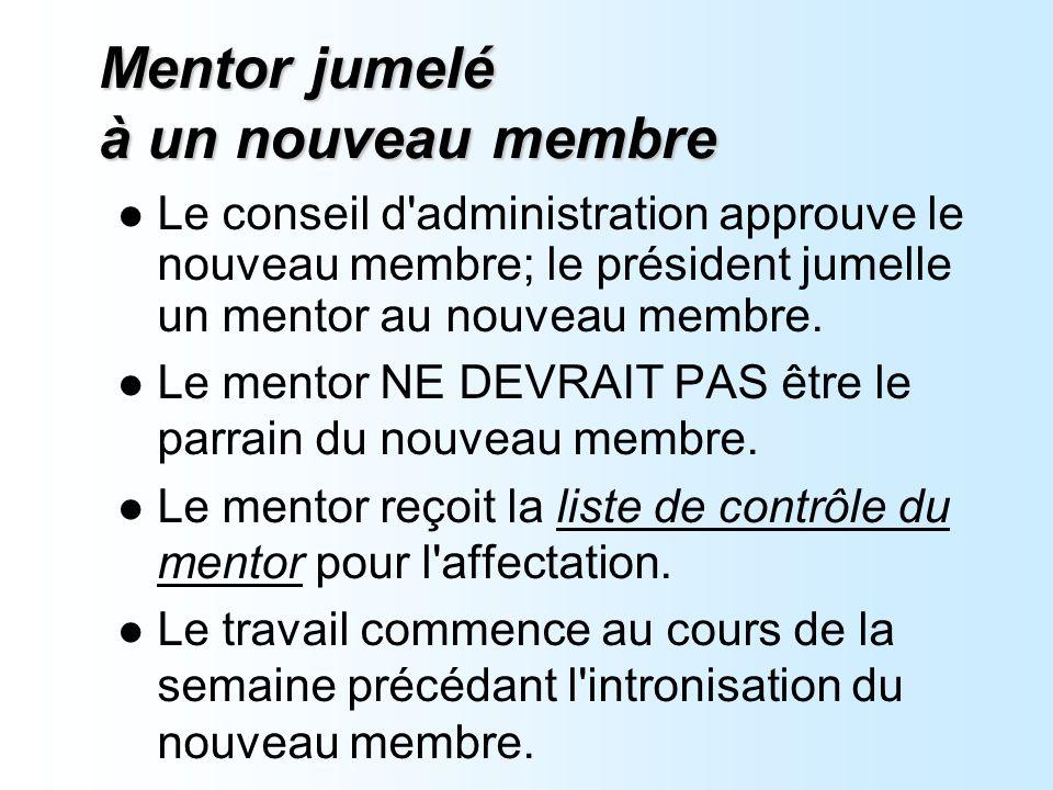 Mentor jumelé à un nouveau membre Le conseil d administration approuve le nouveau membre; le président jumelle un mentor au nouveau membre.