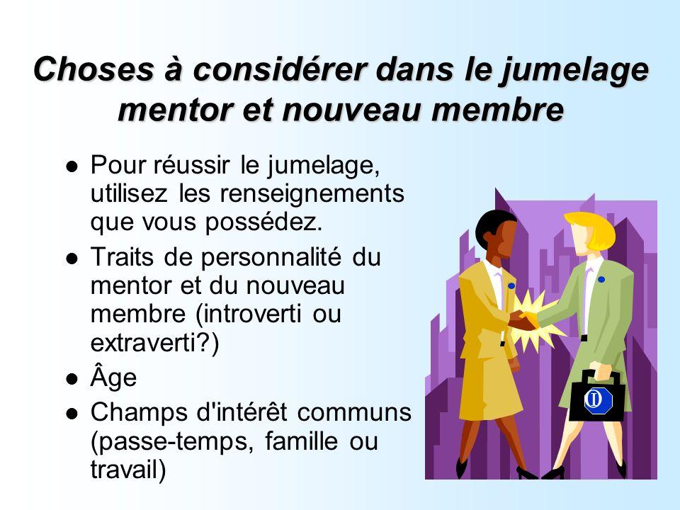 Choses à considérer dans le jumelage mentor et nouveau membre Pour réussir le jumelage, utilisez les renseignements que vous possédez.
