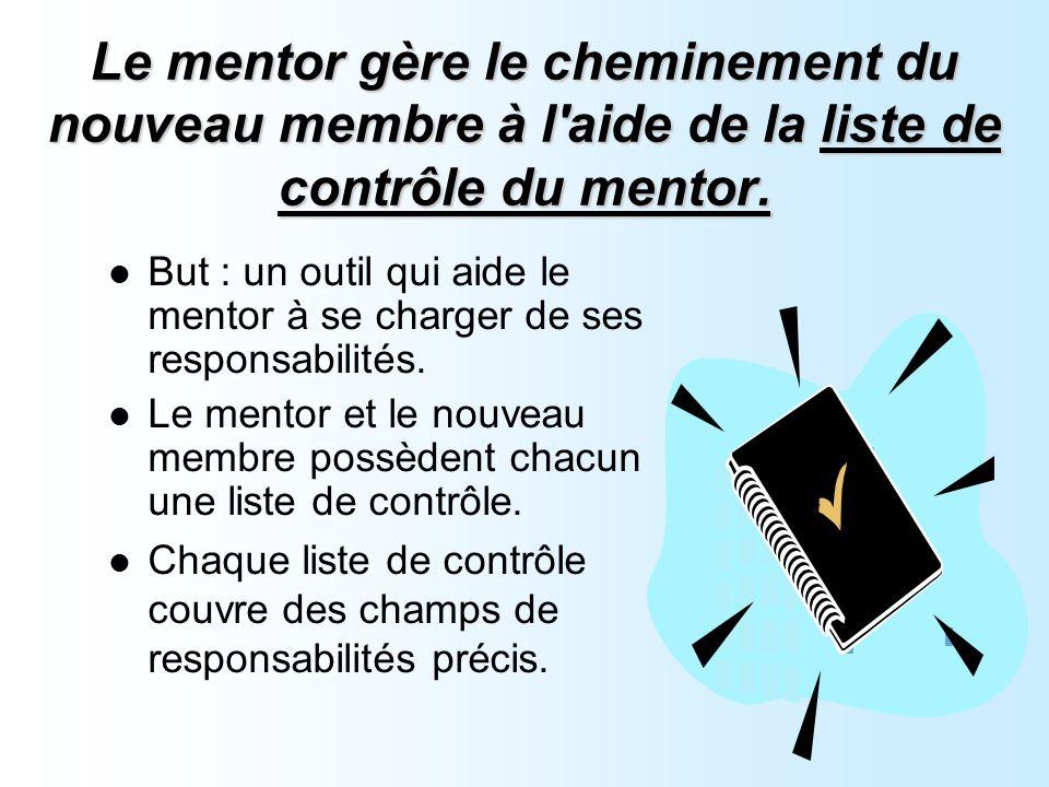 Le mentor gère le cheminement du nouveau membre à l aide de la liste de contrôle du mentor.