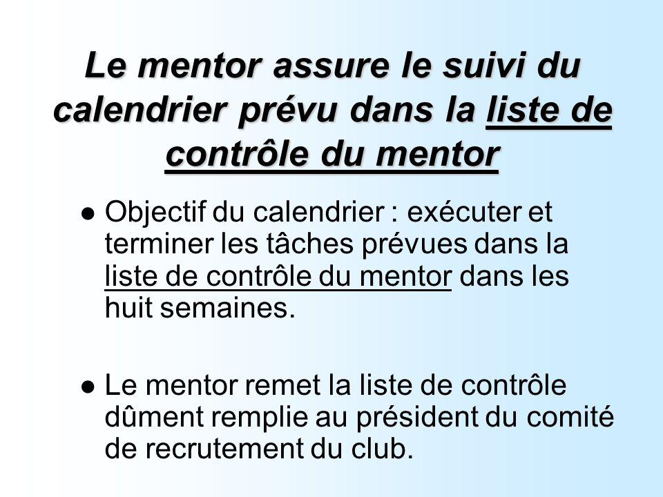 Le mentor assure le suivi du calendrier prévu dans la liste de contrôle du mentor Objectif du calendrier : exécuter et terminer les tâches prévues dans la liste de contrôle du mentor dans les huit semaines.