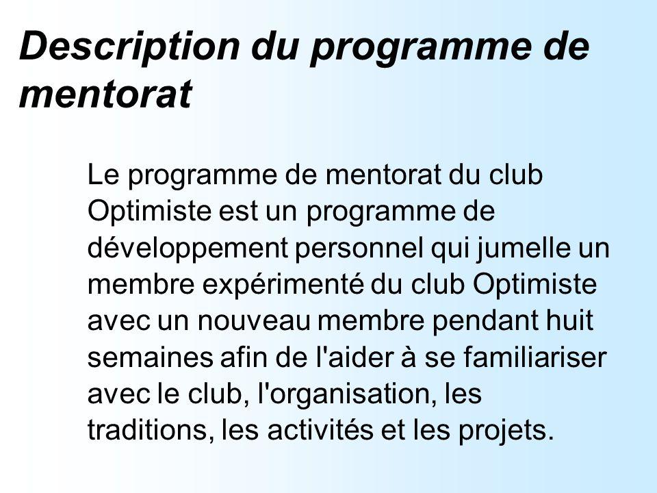Objectifs du programme de mentorat Trouver des mentors au sein du club.