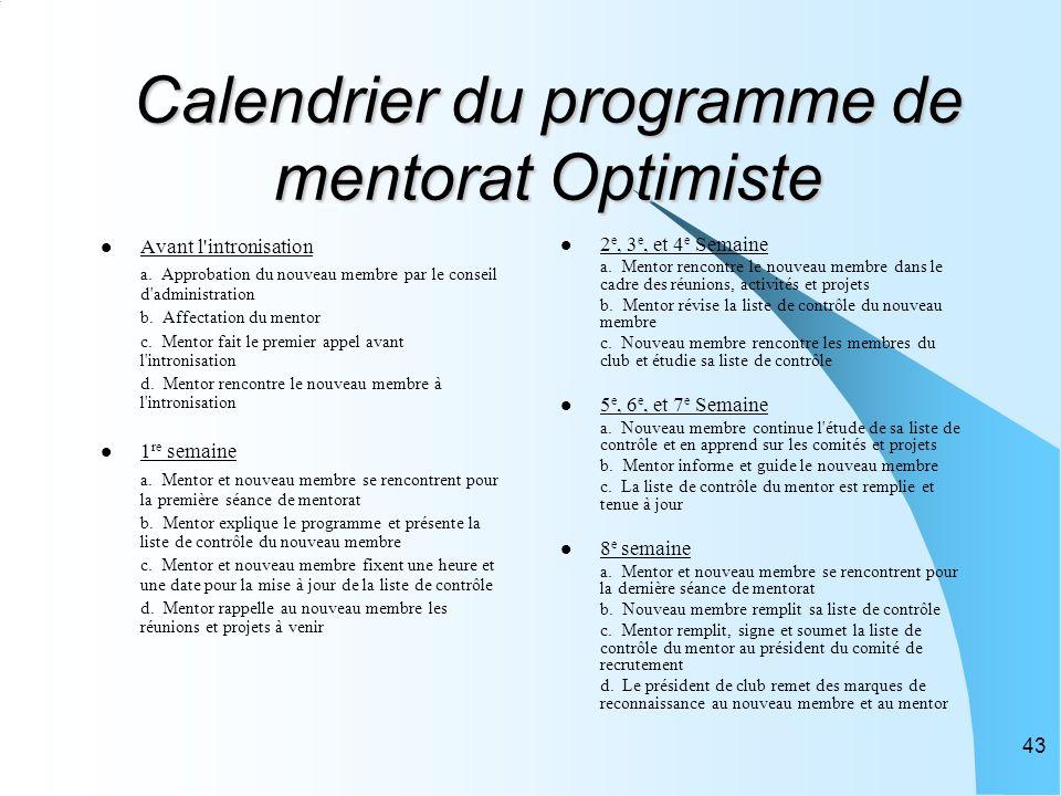 43 Calendrier du programme de mentorat Optimiste Avant l intronisation a.