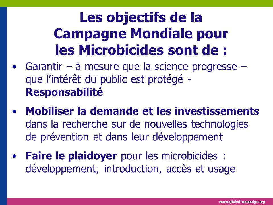 www.global-campaign.org Les objectifs de la Campagne Mondiale pour les Microbicides sont de : Garantir – à mesure que la science progresse – que linté