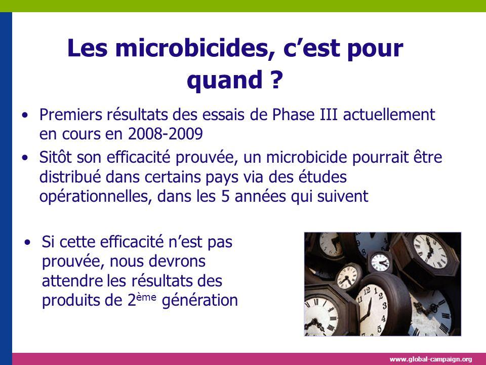 www.global-campaign.org Les microbicides, cest pour quand ? Premiers résultats des essais de Phase III actuellement en cours en 2008-2009 Sitôt son ef