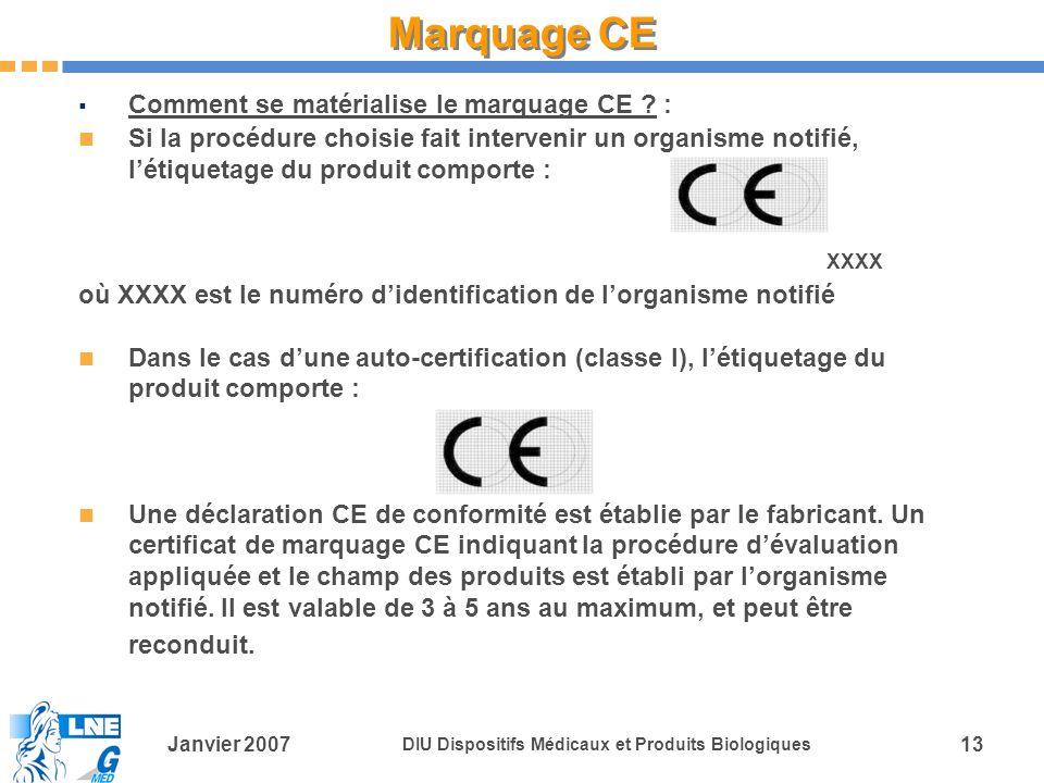 Janvier 2007 DIU Dispositifs Médicaux et Produits Biologiques 13 Comment se matérialise le marquage CE .