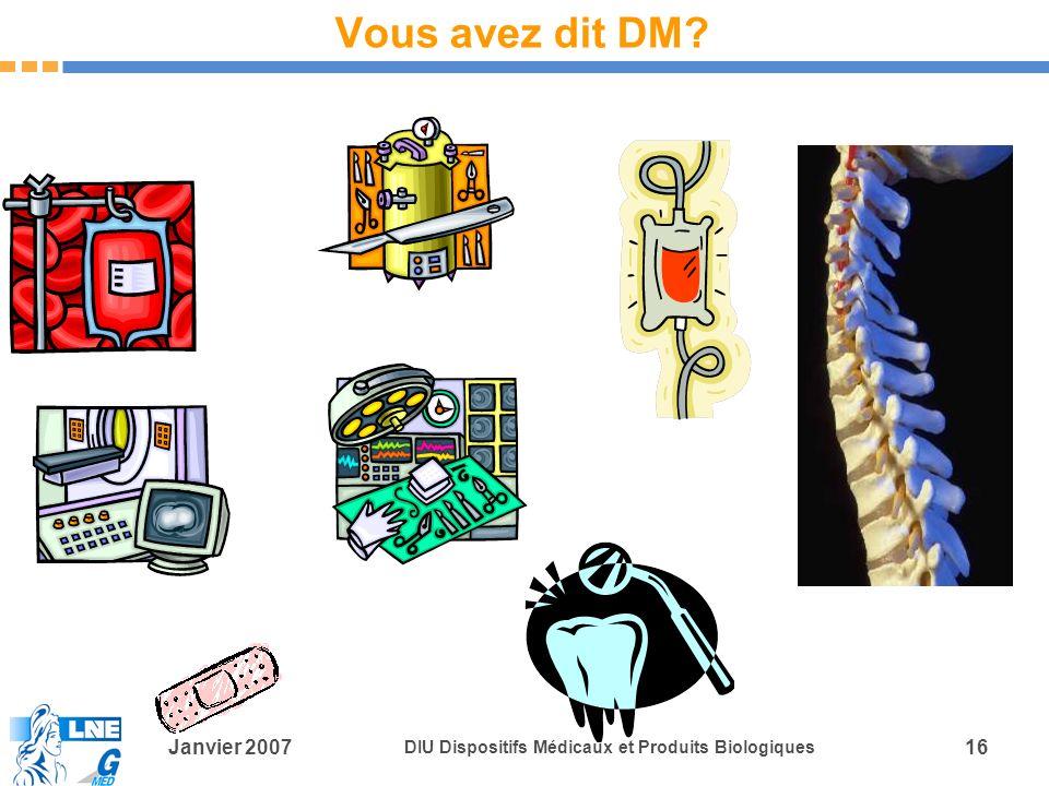 Janvier 2007 DIU Dispositifs Médicaux et Produits Biologiques 16 Vous avez dit DM?