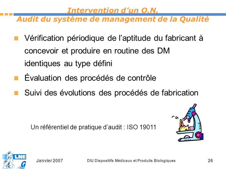 Janvier 2007 DIU Dispositifs Médicaux et Produits Biologiques 26 Un référentiel de pratique daudit : ISO 19011 Intervention dun O.N.