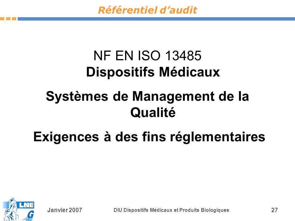 Janvier 2007 DIU Dispositifs Médicaux et Produits Biologiques 27 NF EN ISO 13485 Dispositifs Médicaux Systèmes de Management de la Qualité Exigences à des fins réglementaires Référentiel daudit