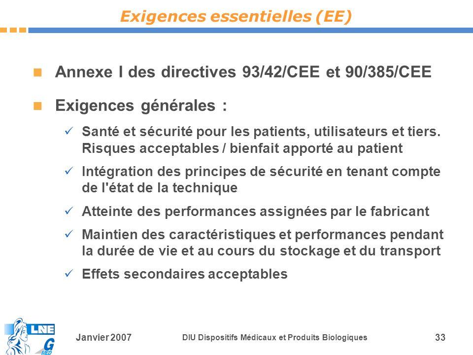 Janvier 2007 DIU Dispositifs Médicaux et Produits Biologiques 33 Annexe I des directives 93/42/CEE et 90/385/CEE Exigences générales : Santé et sécurité pour les patients, utilisateurs et tiers.