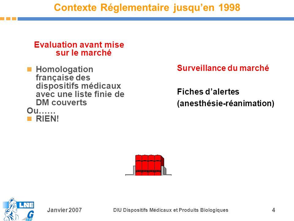 Janvier 2007 DIU Dispositifs Médicaux et Produits Biologiques 4 Contexte Réglementaire jusquen 1998 Evaluation avant mise sur le marché Homologation française des dispositifs médicaux avec une liste finie de DM couverts Ou…… RIEN.