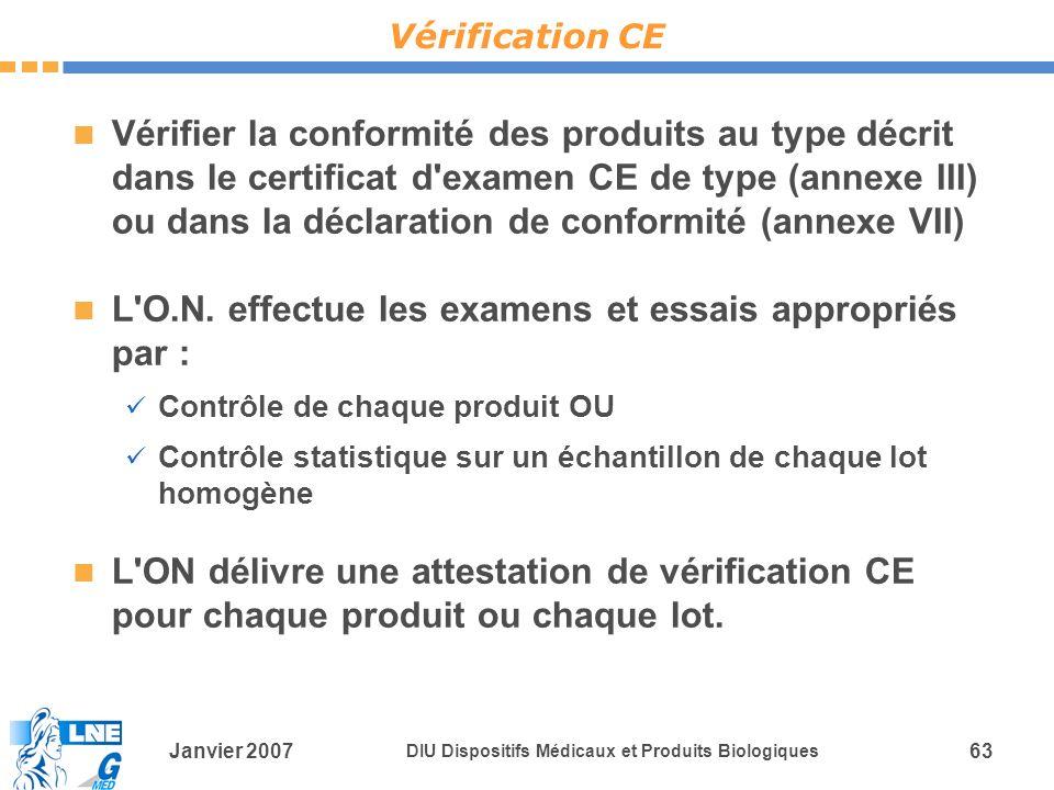 Janvier 2007 DIU Dispositifs Médicaux et Produits Biologiques 63 Vérifier la conformité des produits au type décrit dans le certificat d examen CE de type (annexe III) ou dans la déclaration de conformité (annexe VII) L O.N.