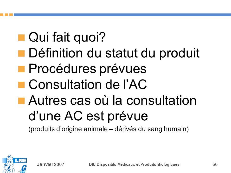Janvier 2007 DIU Dispositifs Médicaux et Produits Biologiques 66 Qui fait quoi.