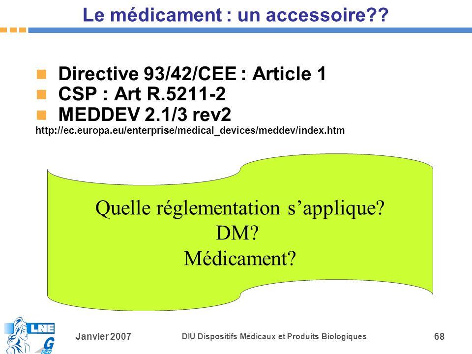 Janvier 2007 DIU Dispositifs Médicaux et Produits Biologiques 68 Le médicament : un accessoire?.