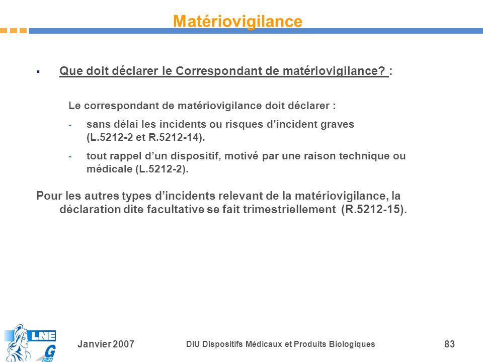 Janvier 2007 DIU Dispositifs Médicaux et Produits Biologiques 83 Que doit déclarer le Correspondant de matériovigilance.