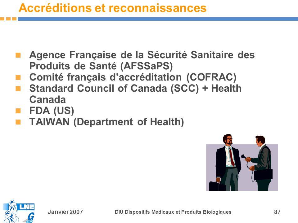 Janvier 2007 DIU Dispositifs Médicaux et Produits Biologiques 87 Accréditions et reconnaissances Agence Française de la Sécurité Sanitaire des Produits de Santé (AFSSaPS) Comité français daccréditation (COFRAC) Standard Council of Canada (SCC) + Health Canada FDA (US) TAIWAN (Department of Health)