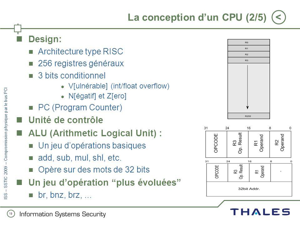 18 < ISS – SSTIC 2009 – Compromission physique par le bus PCI La conception dun CPU (1/5) Pourquoi avoir conçu et implémenté un processeur ? Les machi