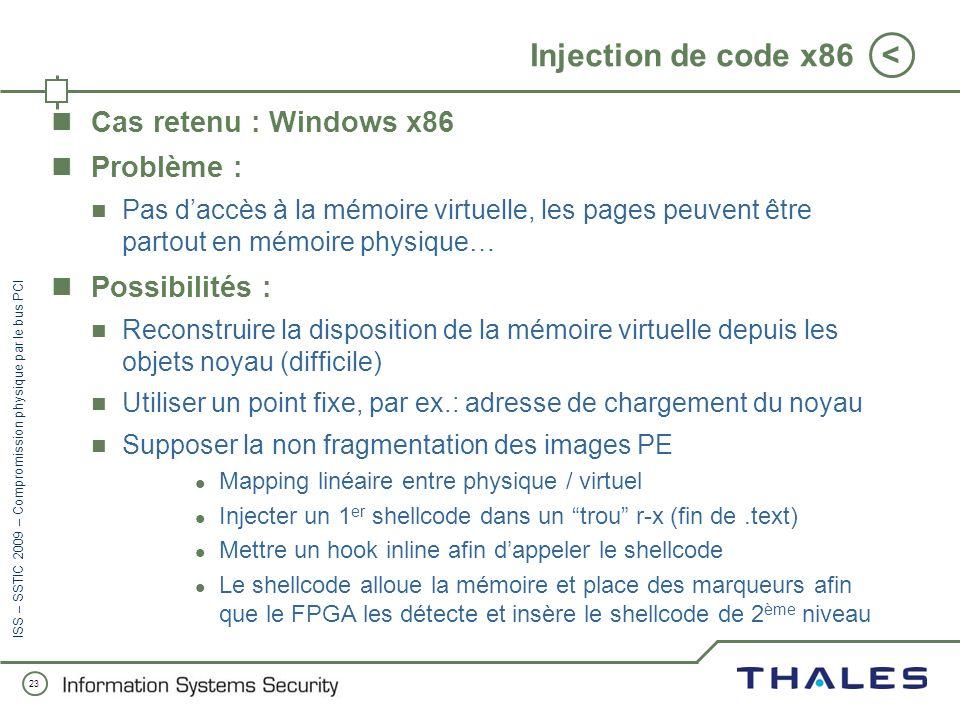 22 < ISS – SSTIC 2009 – Compromission physique par le bus PCI La conception dun CPU (5/5) Un aperçu de lALU --[...] begin --[...] memoryread(PC, true,
