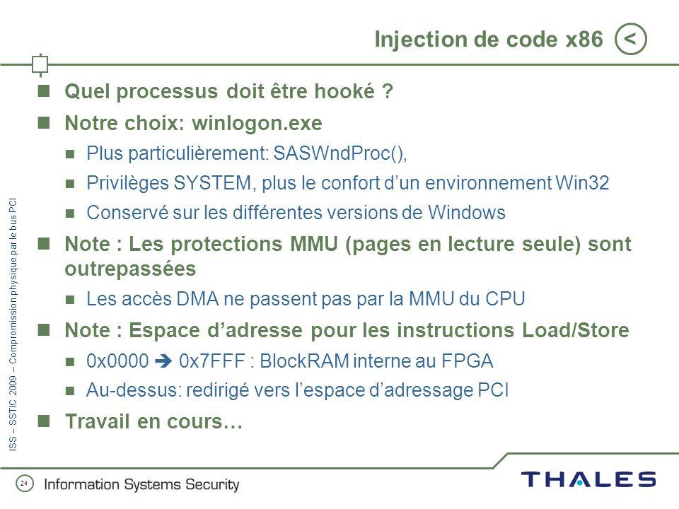 23 < ISS – SSTIC 2009 – Compromission physique par le bus PCI Injection de code x86 Cas retenu : Windows x86 Problème : Pas daccès à la mémoire virtue