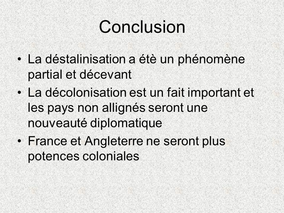 Conclusion La déstalinisation a étè un phénomène partial et décevant La décolonisation est un fait important et les pays non allignés seront une nouveauté diplomatique France et Angleterre ne seront plus potences coloniales