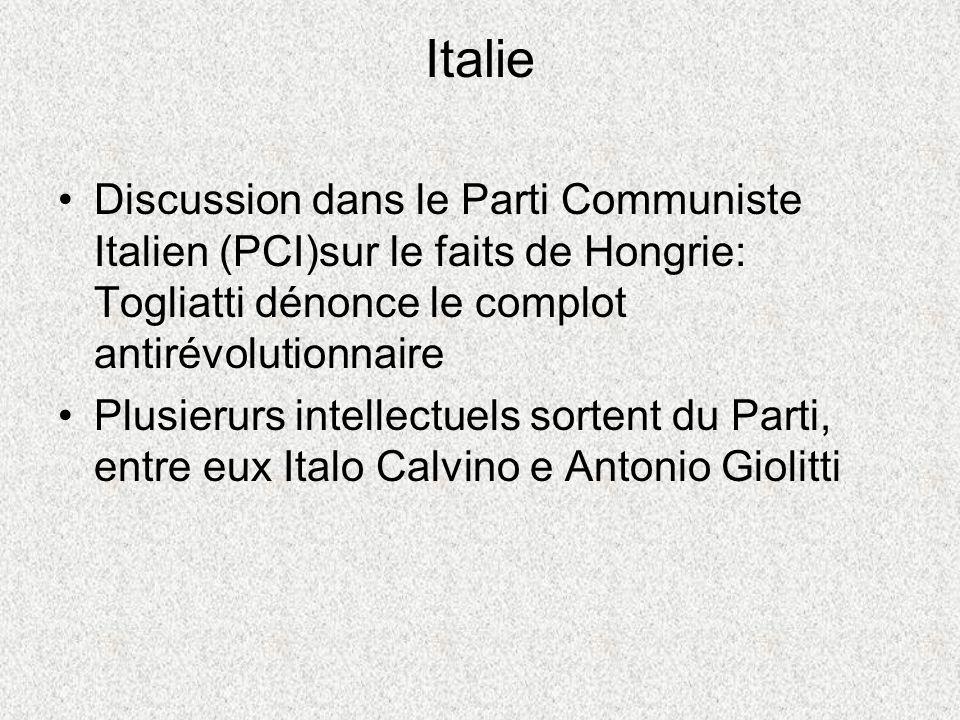 Italie Discussion dans le Parti Communiste Italien (PCI)sur le faits de Hongrie: Togliatti dénonce le complot antirévolutionnaire Plusierurs intellectuels sortent du Parti, entre eux Italo Calvino e Antonio Giolitti