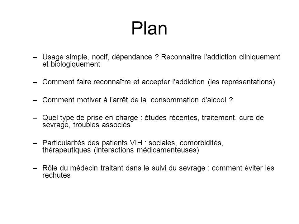 Plan –Usage simple, nocif, dépendance ? Reconnaître laddiction cliniquement et biologiquement –Comment faire reconnaître et accepter laddiction (les r