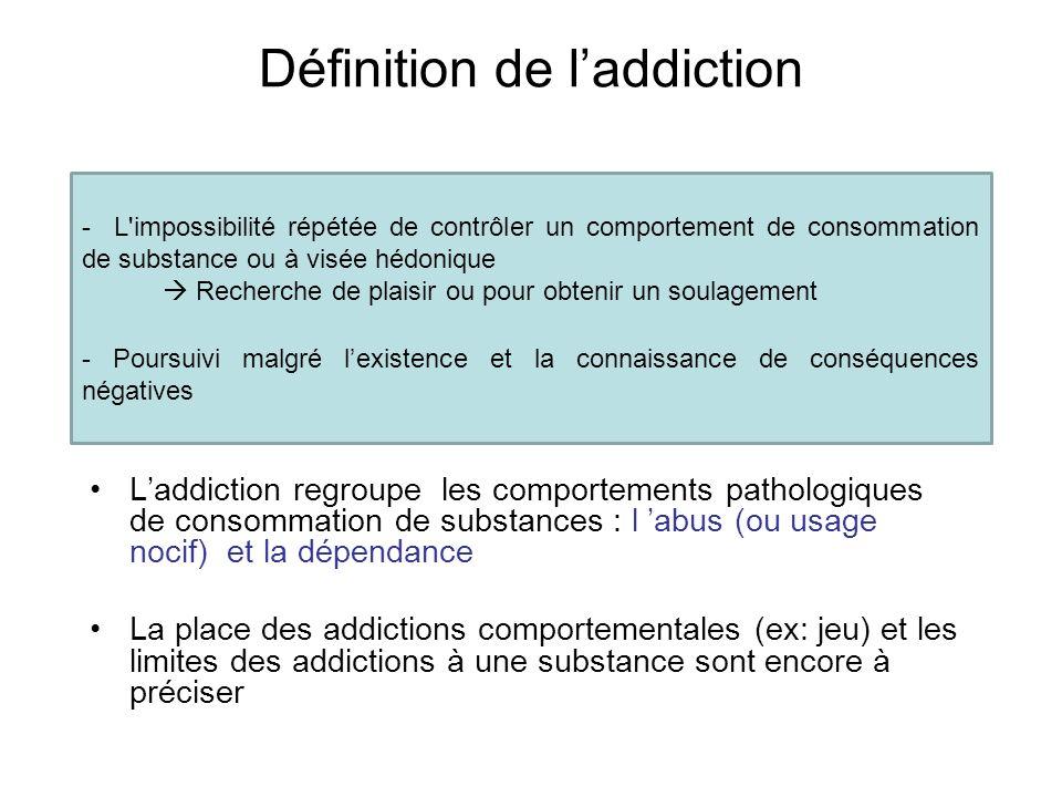 - L'impossibilité répétée de contrôler un comportement de consommation de substance ou à visée hédonique Recherche de plaisir ou pour obtenir un soula