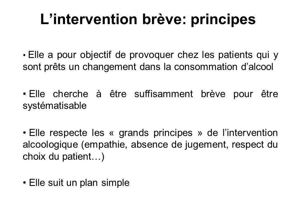 Lintervention brève: principes Elle a pour objectif de provoquer chez les patients qui y sont prêts un changement dans la consommation dalcool Elle ch