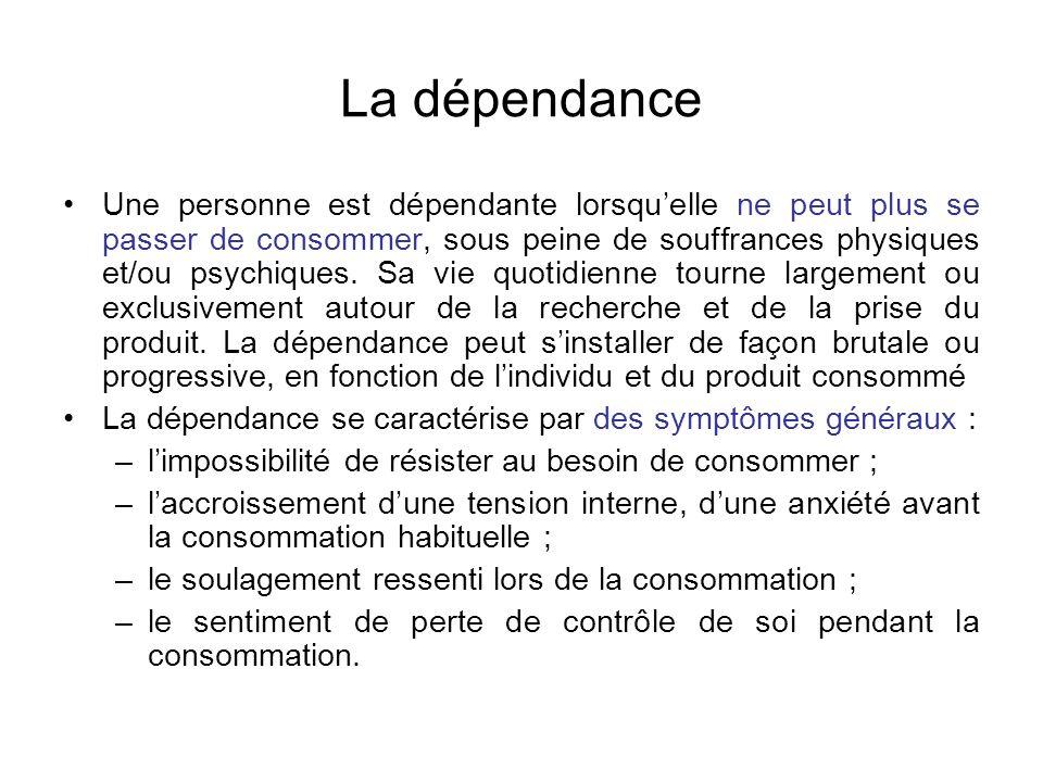 La dépendance Une personne est dépendante lorsquelle ne peut plus se passer de consommer, sous peine de souffrances physiques et/ou psychiques. Sa vie