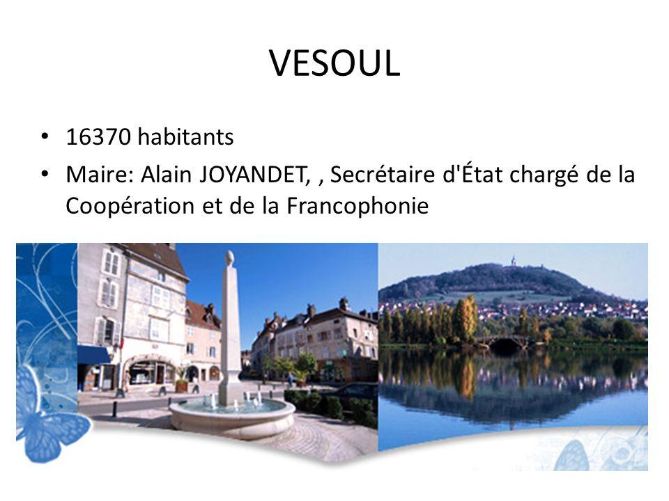 VESOUL 16370 habitants Maire: Alain JOYANDET,, Secrétaire d'État chargé de la Coopération et de la Francophonie