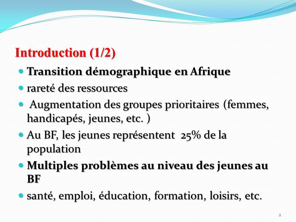 Introduction (2/2) Interventions en milieu jeune non basées sur les besoins des jeunes Interventions en milieu jeune non basées sur les besoins des jeunes Manque de données sur les besoins des jeunes Manque de données sur les besoins des jeunes Combler le déficit à travers une analyse participative: RAJS/BF-PNUD-UNICEF Combler le déficit à travers une analyse participative: RAJS/BF-PNUD-UNICEF Collaboration: ISSP; IPC Collaboration: ISSP; IPC 3