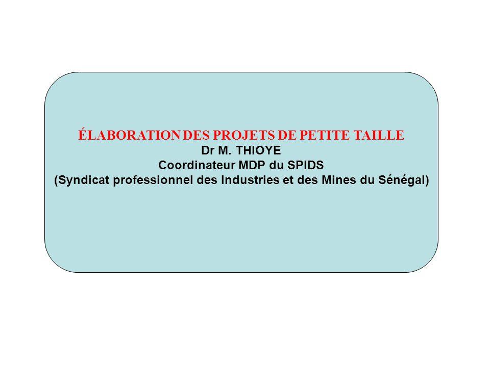 ÉLABORATION DES PROJETS DE PETITE TAILLE Dr M. THIOYE Coordinateur MDP du SPIDS (Syndicat professionnel des Industries et des Mines du Sénégal)
