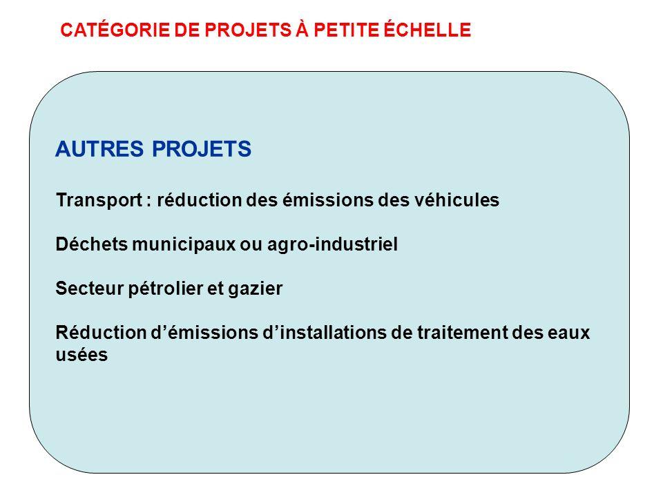 CATÉGORIE DE PROJETS À PETITE ÉCHELLE AUTRES PROJETS Transport : réduction des émissions des véhicules Déchets municipaux ou agro-industriel Secteur p