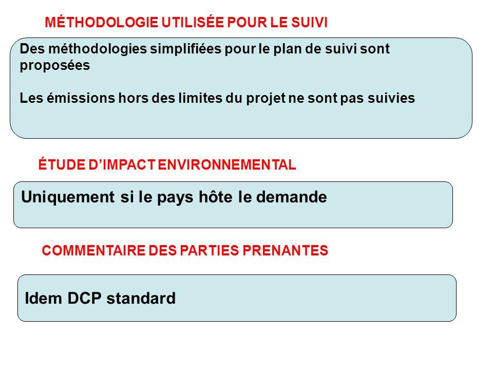MÉTHODOLOGIE UTILISÉE POUR LE SUIVI Des méthodologies simplifiées pour le plan de suivi sont proposées Les émissions hors des limites du projet ne son