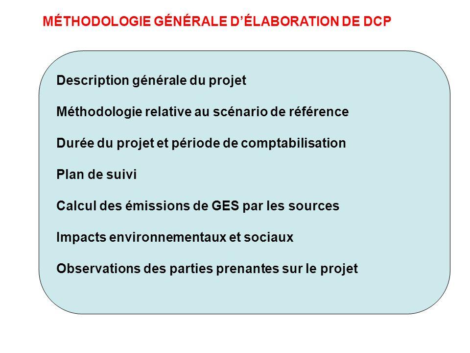 MÉTHODOLOGIE GÉNÉRALE DÉLABORATION DE DCP Description générale du projet Méthodologie relative au scénario de référence Durée du projet et période de