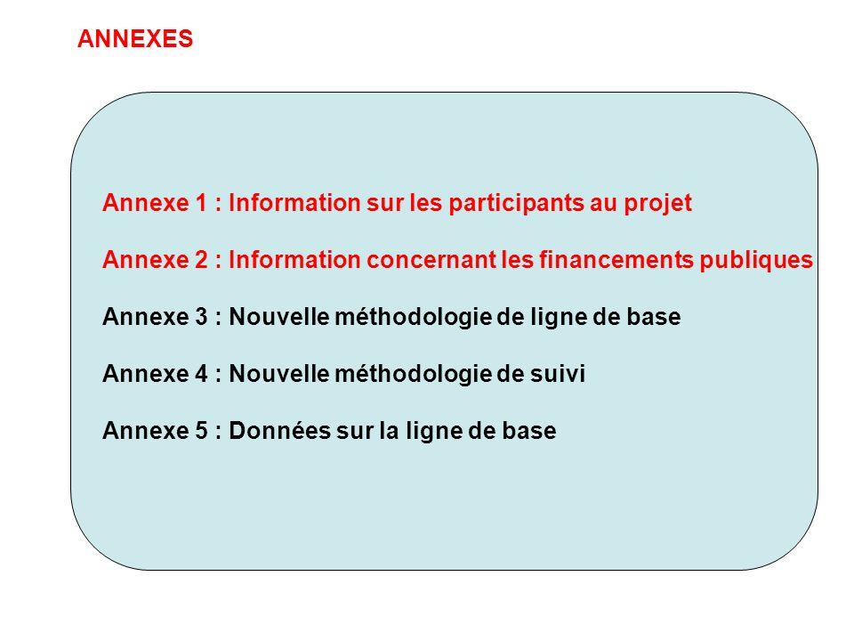 ANNEXES Annexe 1 : Information sur les participants au projet Annexe 2 : Information concernant les financements publiques Annexe 3 : Nouvelle méthodo