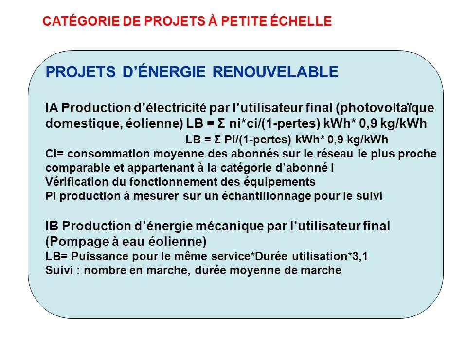 CATÉGORIE DE PROJETS À PETITE ÉCHELLE PROJETS DÉNERGIE RENOUVELABLE IA Production délectricité par lutilisateur final (photovoltaïque domestique, éoli