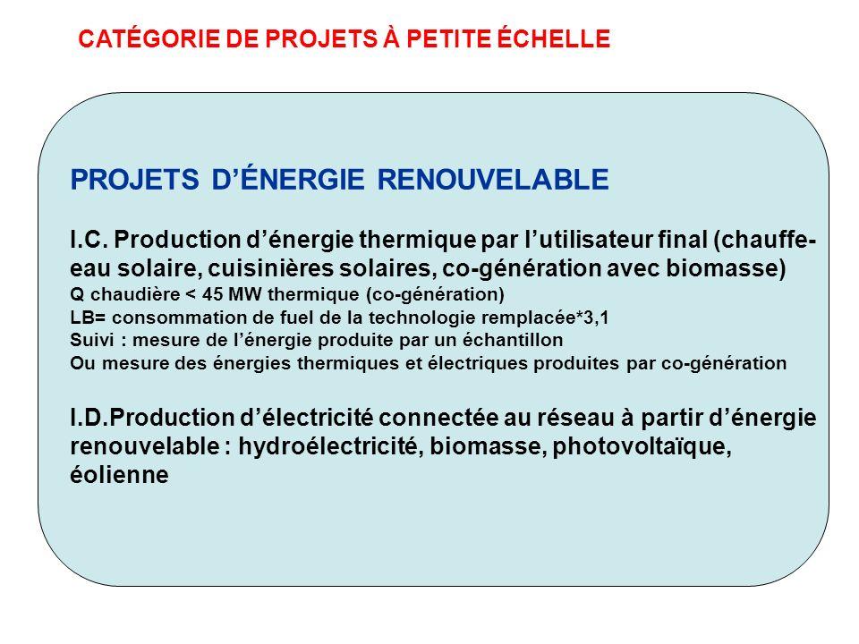 CATÉGORIE DE PROJETS À PETITE ÉCHELLE PROJETS DÉNERGIE RENOUVELABLE I.C. Production dénergie thermique par lutilisateur final (chauffe- eau solaire, c