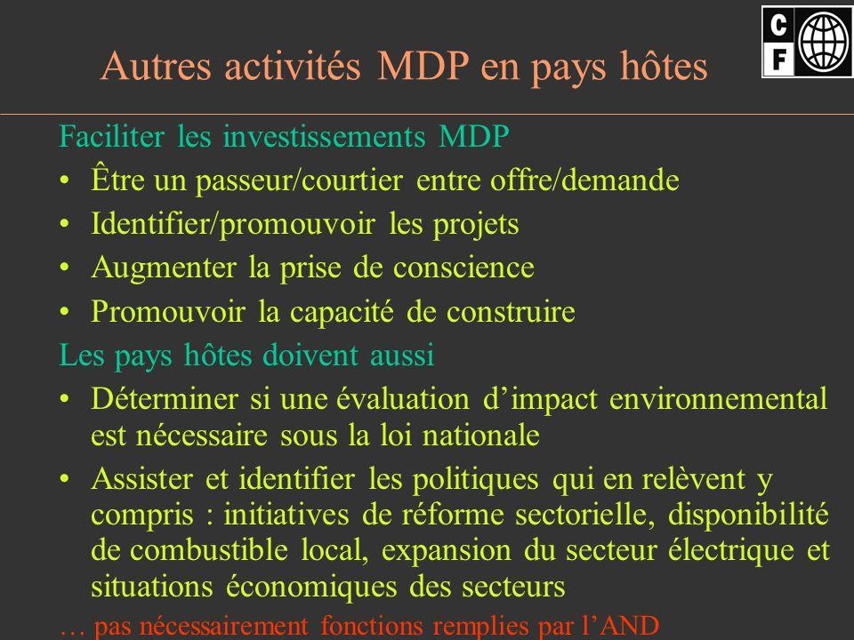 Pour faciliter les investissements du secteur privé… Le MDP est un marché compétitif Pour favoriser les investissements MDP, le secteur privé doit trouver dans les pays hôtes : –Une approche claire qui vise au développement durable –Procédures claires pour lapprobation des projets (ou déni) dans une période de temps déterminée –Approche univoque : lAND guide les propositions des projets daccord avec les lois applicables incluant les lois sur lévaluation de limpact environnemental –Autorités nationales désignées Sourtout, lapprobation dun projet sous le MDP doit être transparente, simple, efficiente en coûts et en temps